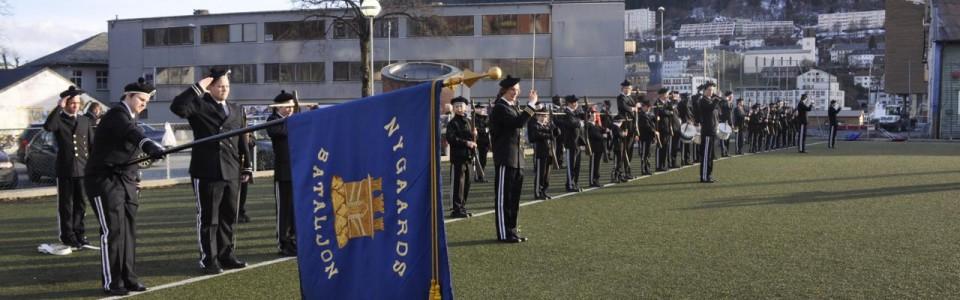 Nygaards Bataljon oppstilt på Småleken.